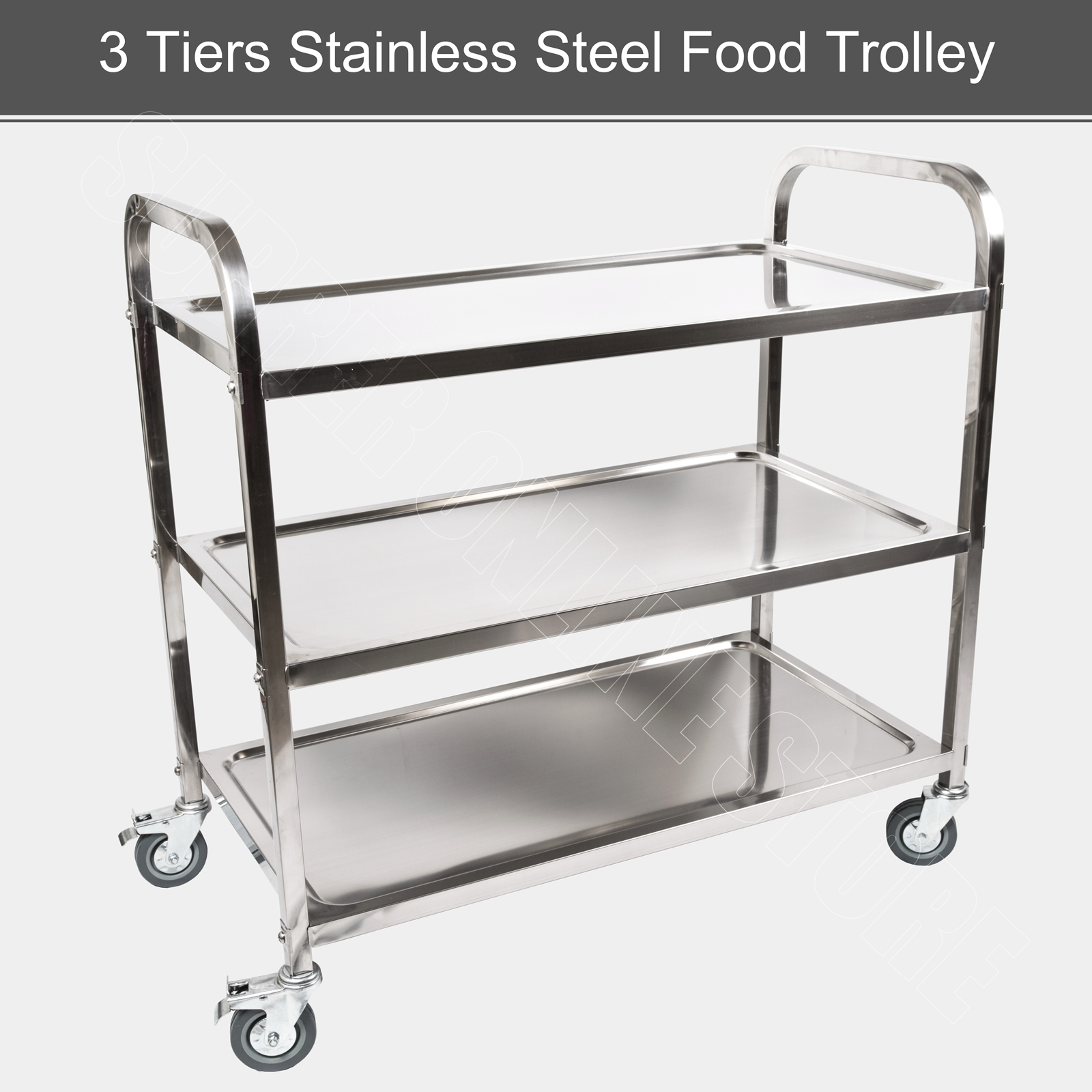 3 Tiers Food Trolley Cart Stainless Steel Utility Kitchen