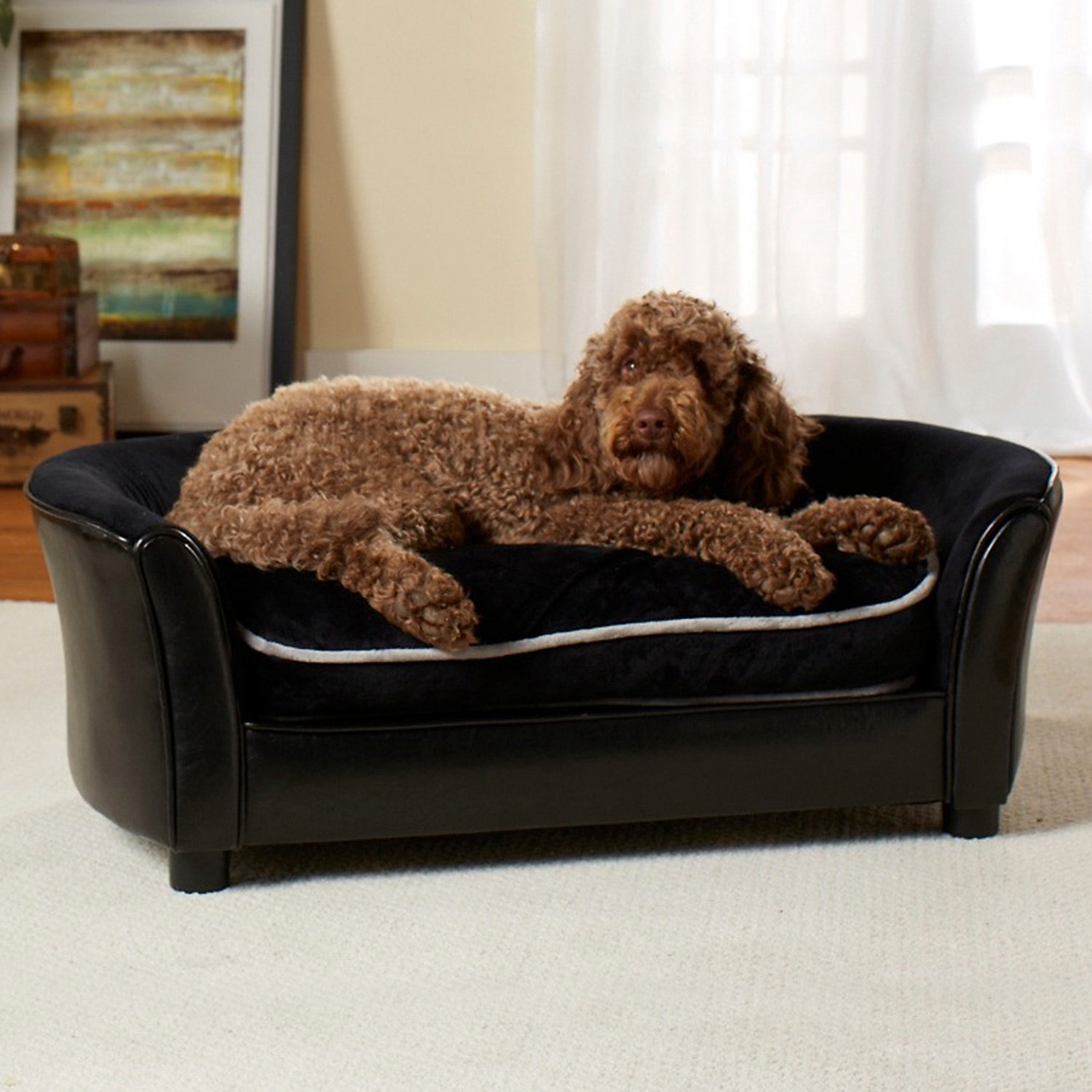 Enchanted Home Dog Pet Premium Ultra Plush Large Sofa Bed Lounge Furniture Black Ebay
