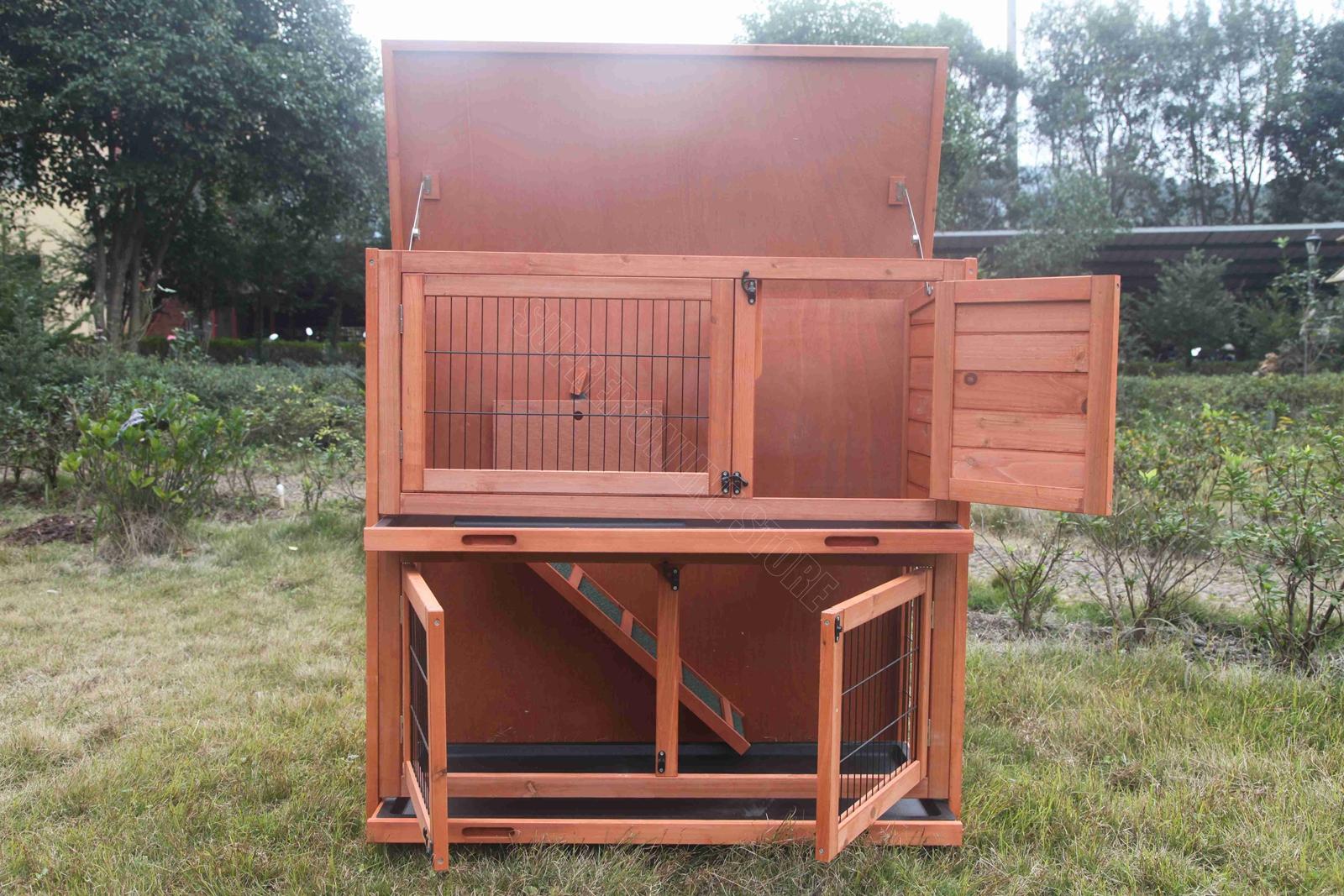 2 Storey Rabbit Hutch Chicken Coop Guinea Pig Ferret Cage