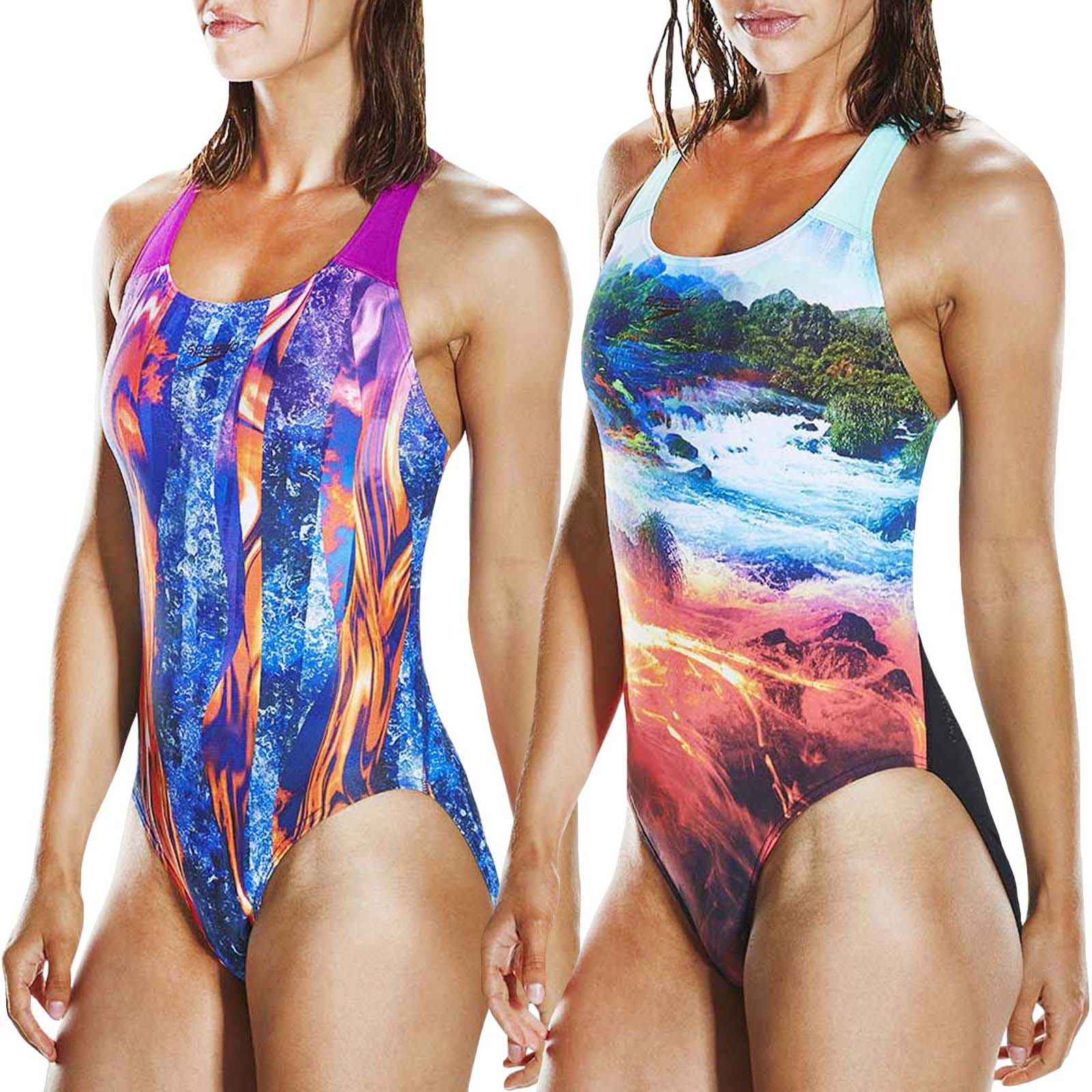 SPEEDO WOMENS TANKINI SWIMSUIT.BOOM ALLOVER UPF50 2 PIECE SWIMMING COSTUME.8S 38