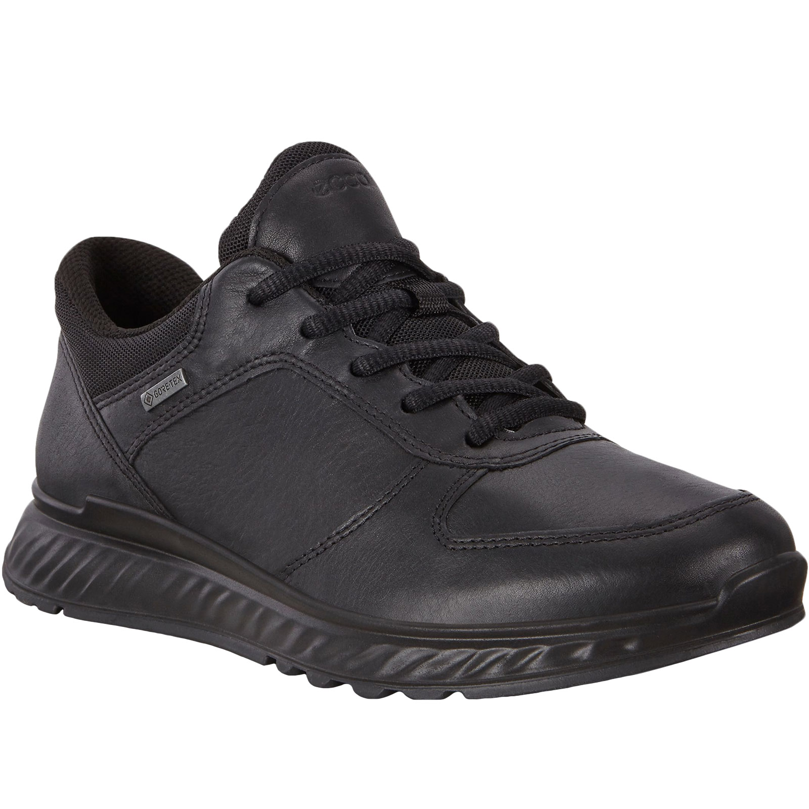 Black Ecco Womens Exostride Low Gore-Tex Leather Walking Hiking Shoes Trainers