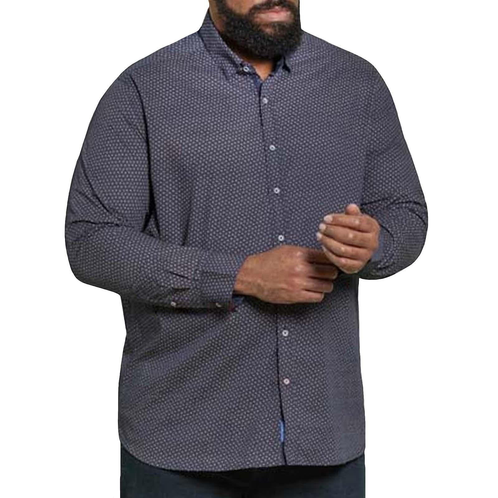 Duke D555 Rashard Big Tall Kingsize Pure Cotton Long Sleeve Shirt Mens Tops