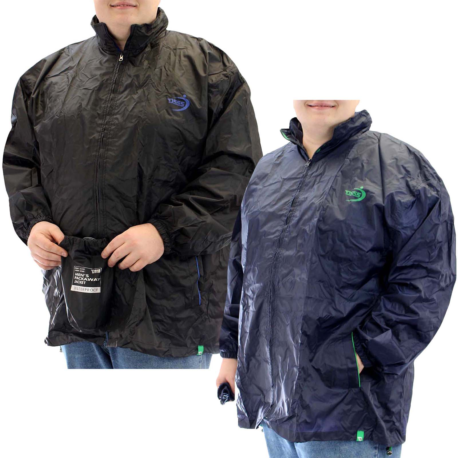 Kam Water Repellent Jacket For Men Big /& Tall King Plus Size Black Windbreaker