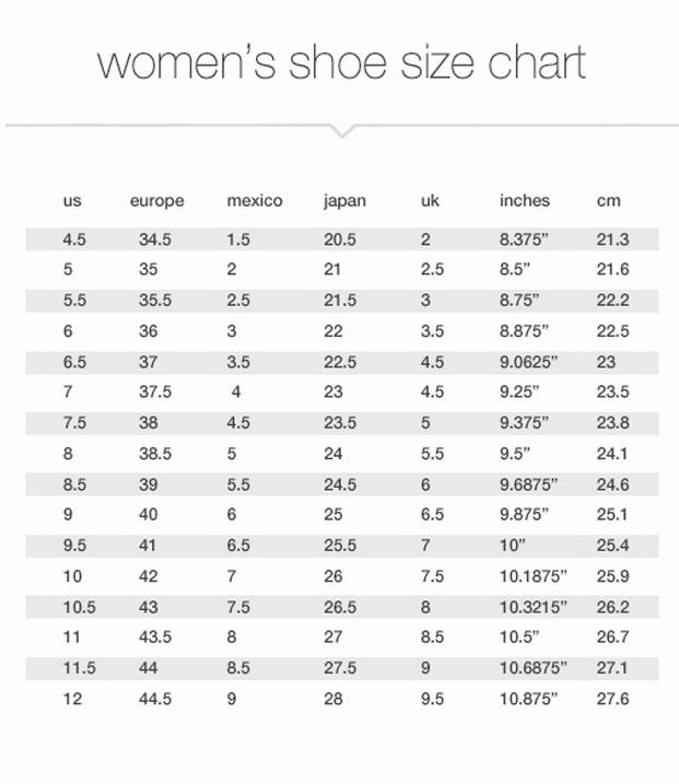 Shoe Size Chart Uk Us Au Men
