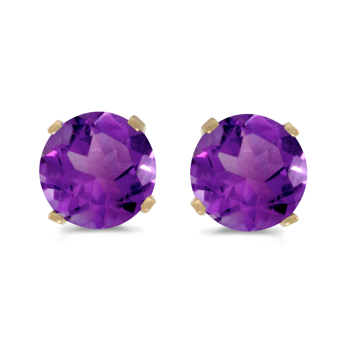 These 14k yellow gold round amethyst stud earrings feature 5 mm genuine natural amethysts with a 0.78 ct total weight.