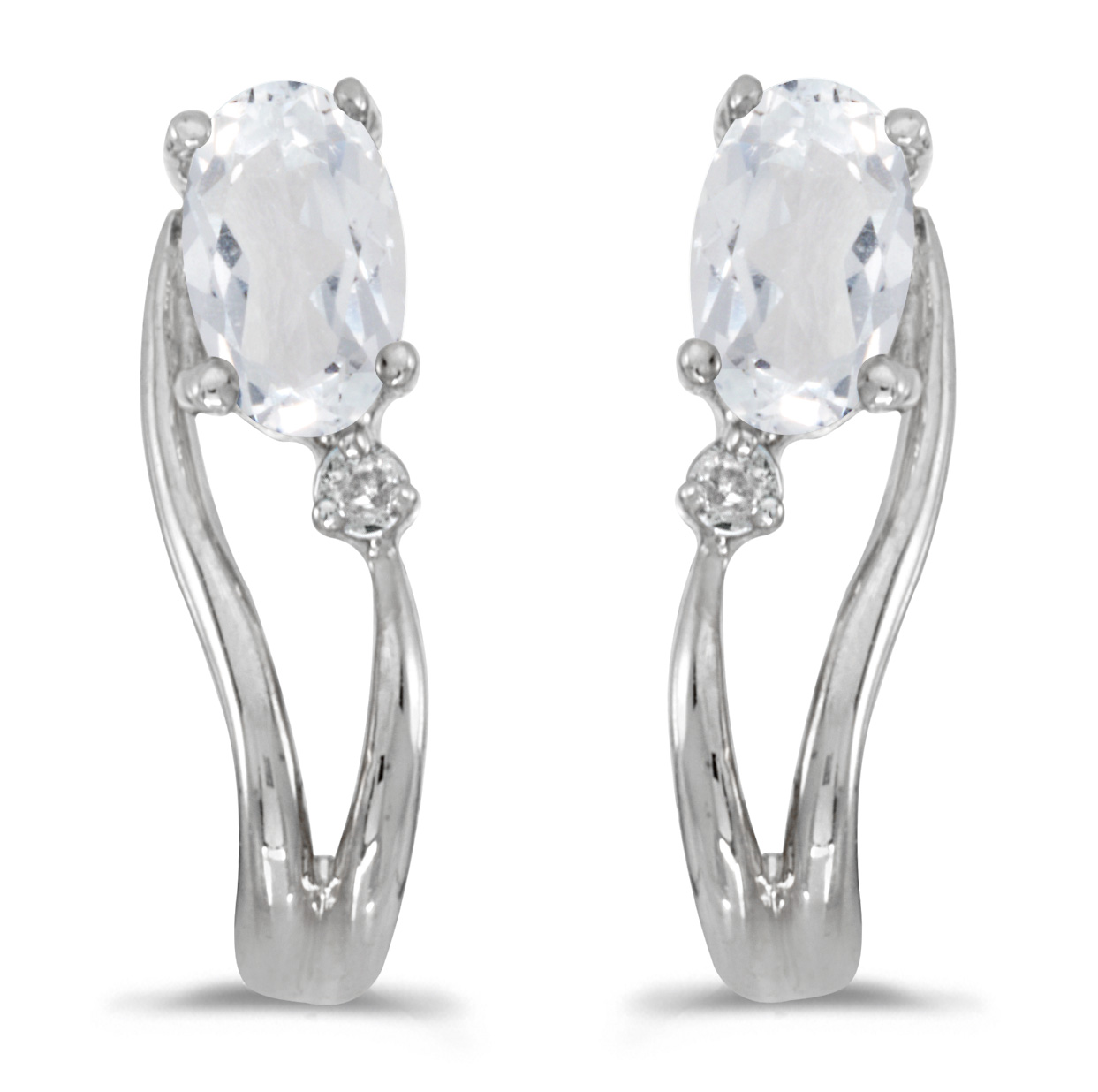 Details about  /14k White Gold Oval White Topaz And Diamond Earrings