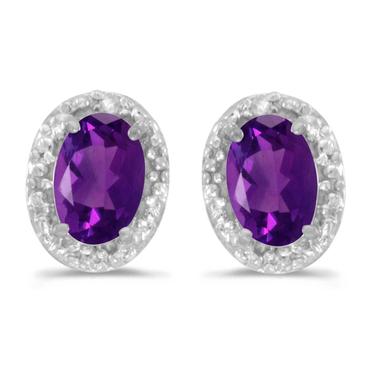 10k white gold oval amethyst and diamond earrings ebay