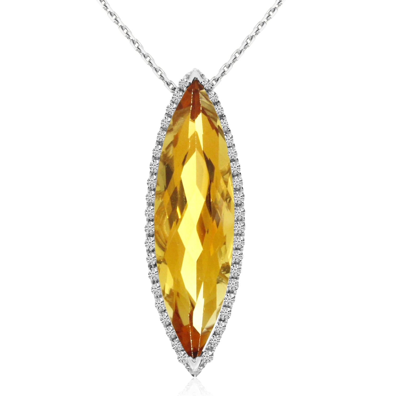 14K White Gold Oval Citrine November Stone /& Diamond Pendant
