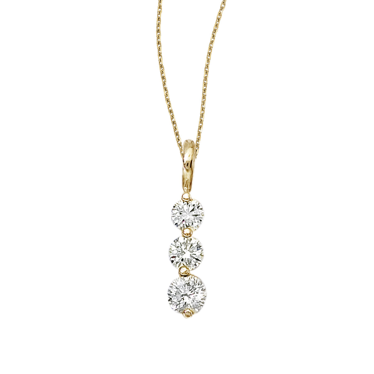 14k yellow gold 3 stone diamond drop pendant with bail and 18 chain 14k yellow gold 3 stone diamond drop pendant with bail and 18 chain aloadofball