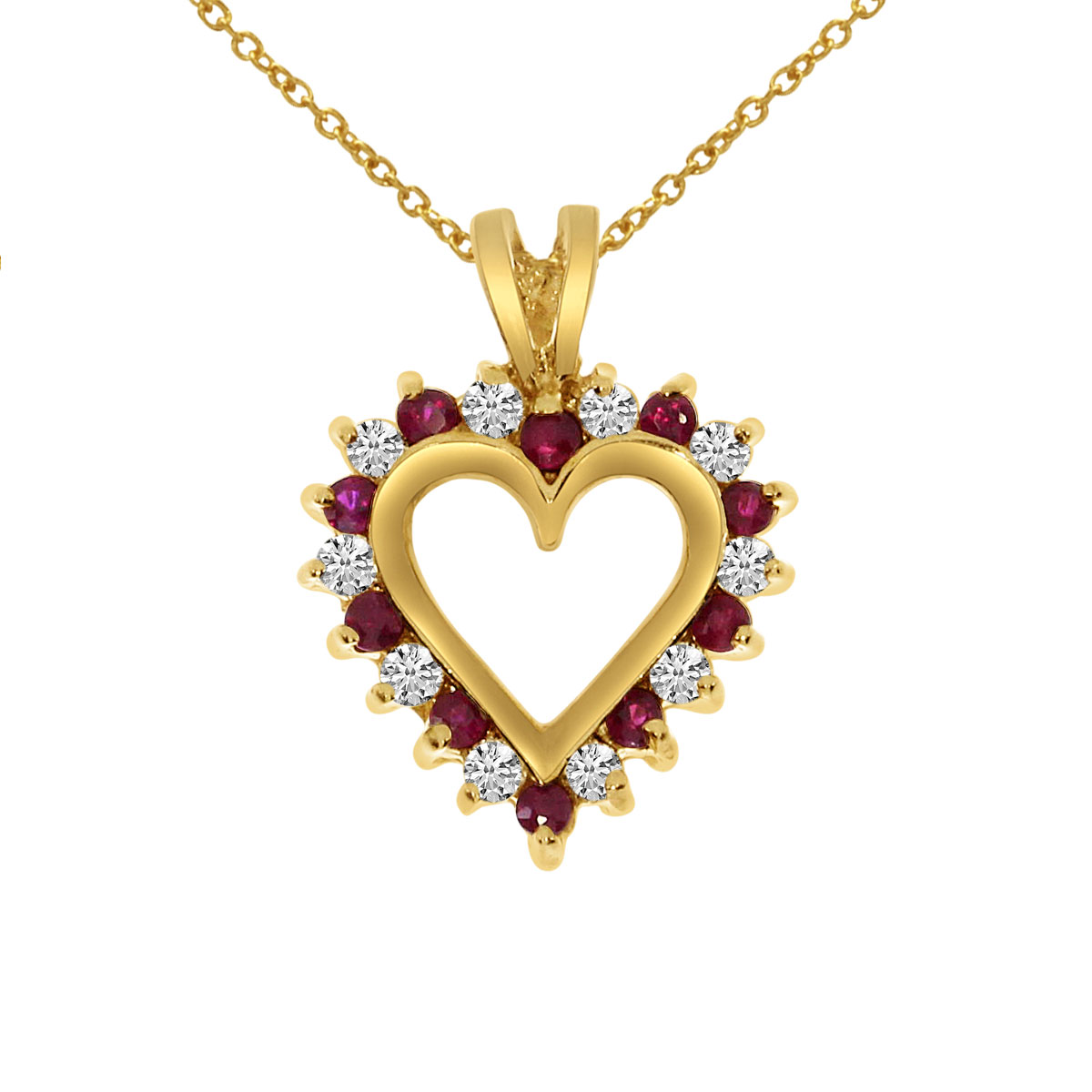 14k yellow gold ruby and diamond heart shaped pendant with 18 chain 14k yellow gold ruby and diamond heart shaped pendant with 18 chain ebay aloadofball Image collections