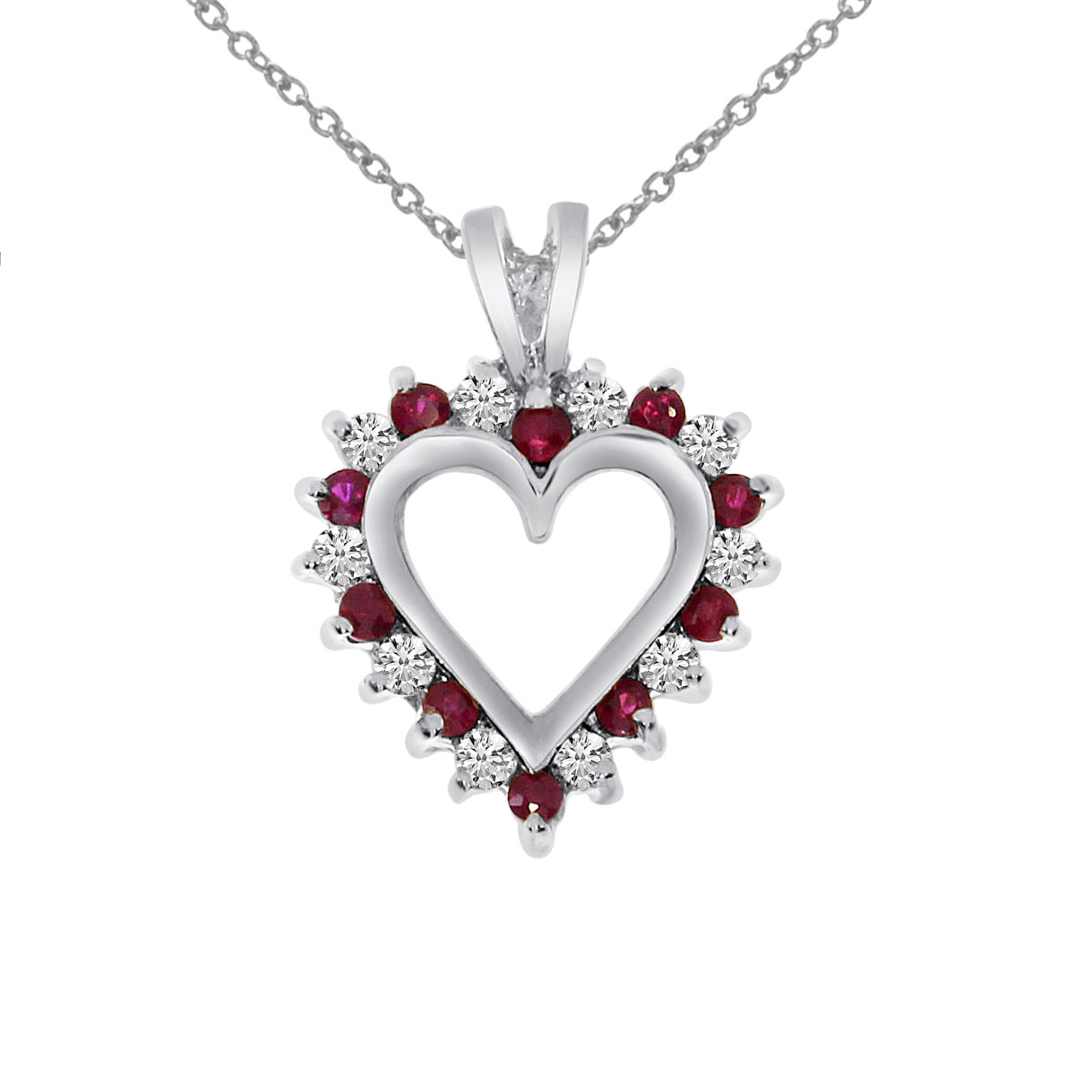 28cad4117 Details about 14k White Gold Ruby and Diamond Heart Shaped Pendant with 18