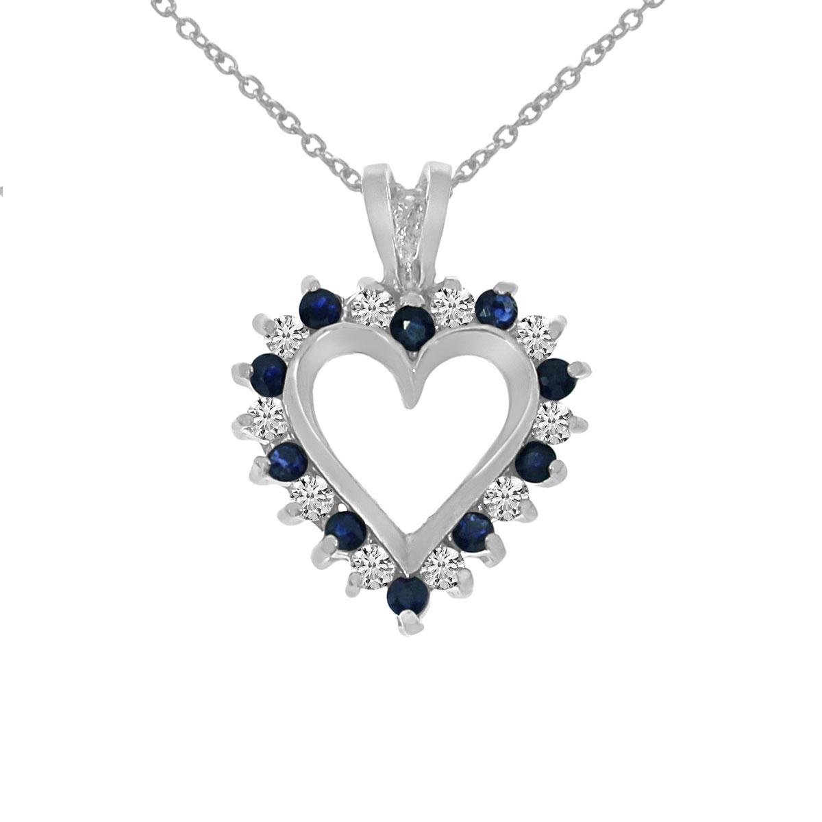14k oro blanco zafiro y diamantes en forma de corazn colgante ebay responsive image aloadofball Image collections
