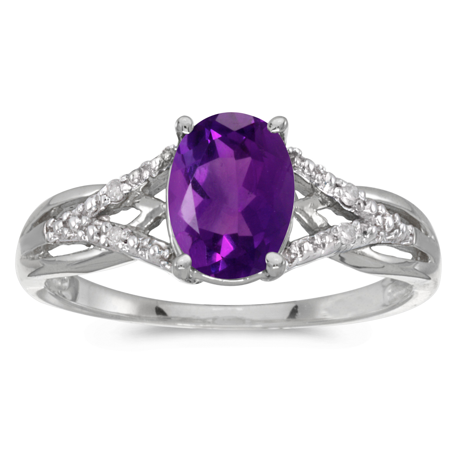 10k White Gold Oval Amethyst And Diamond Ring Ebay