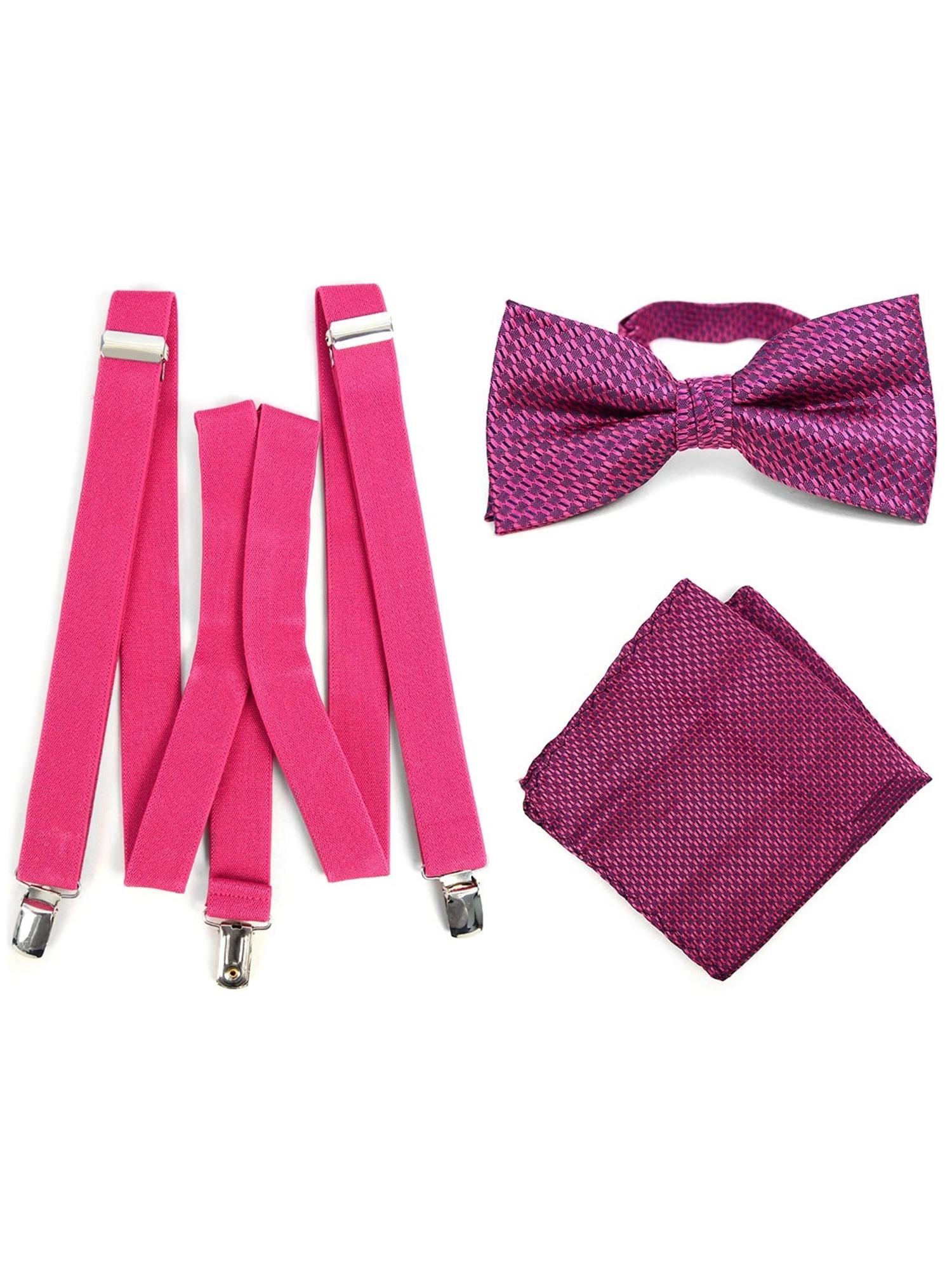 7375546cef7f Men's Fuchsia 3 PC Clip-on Suspenders, Bow Tie & Hanky Sets | eBay
