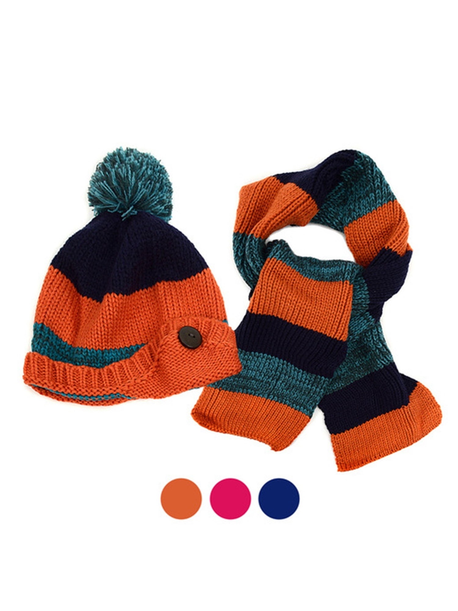 Kid/'s Classic Knitted Winter Hat and Scarf Set