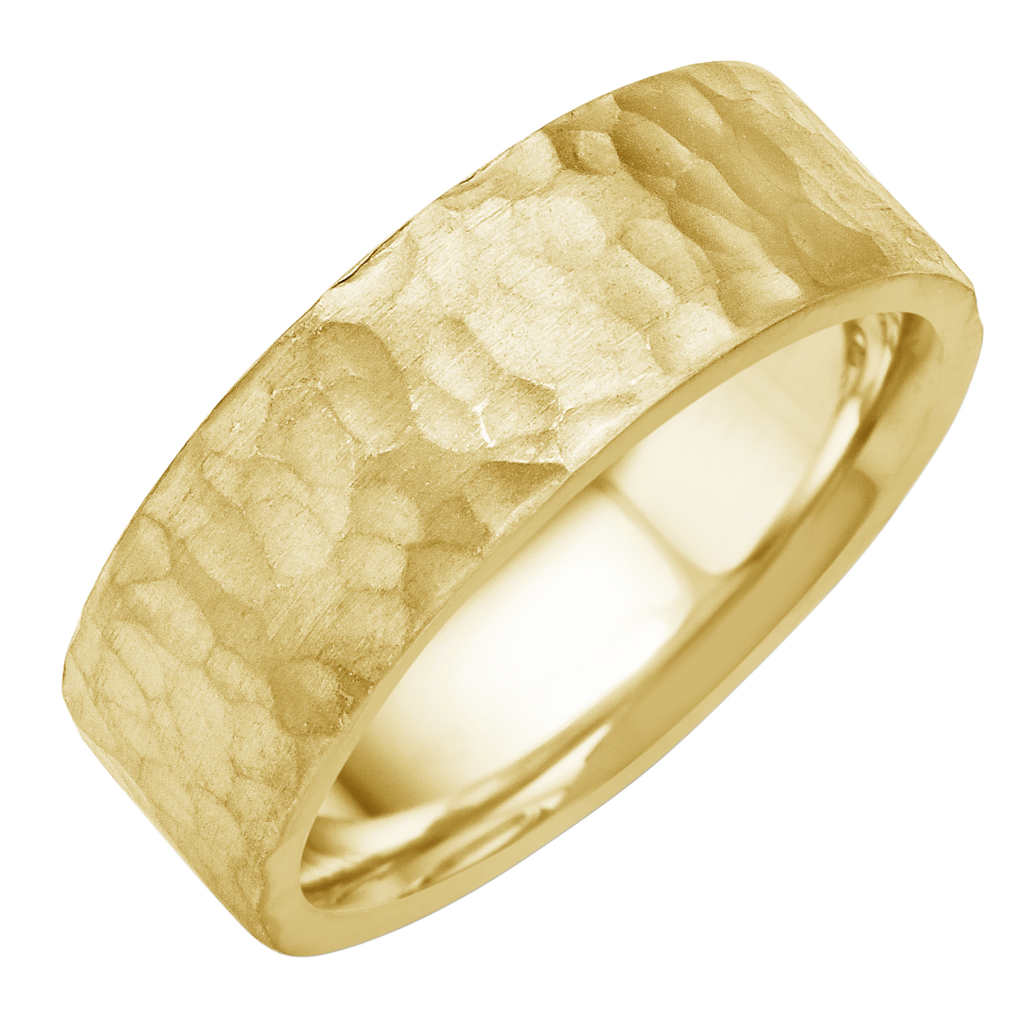 Hammered Finish Bands: 14K-18K White Or Yellow Gold Hammered Finish Mens Wedding