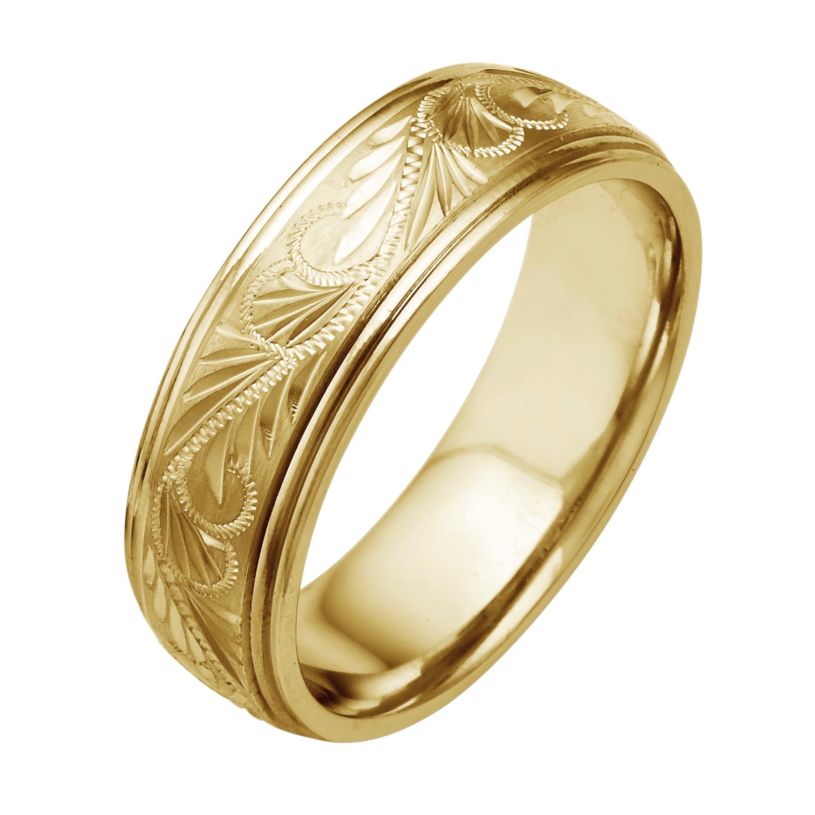 14K18K White Or Yellow Gold Diamond Cut Etruscan Mens Wedding Band