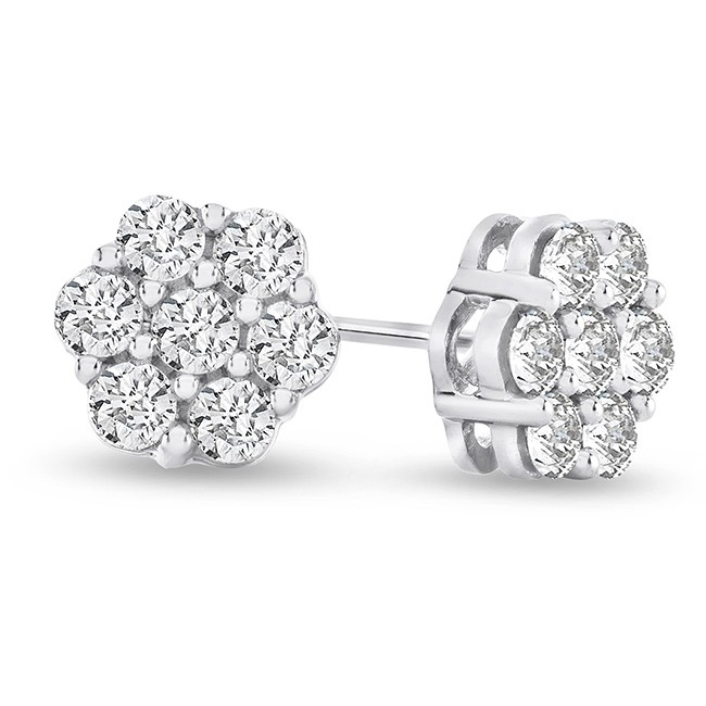 1 2 Carat Natural Diamond Flower Cluster Earrings in 10K Gold