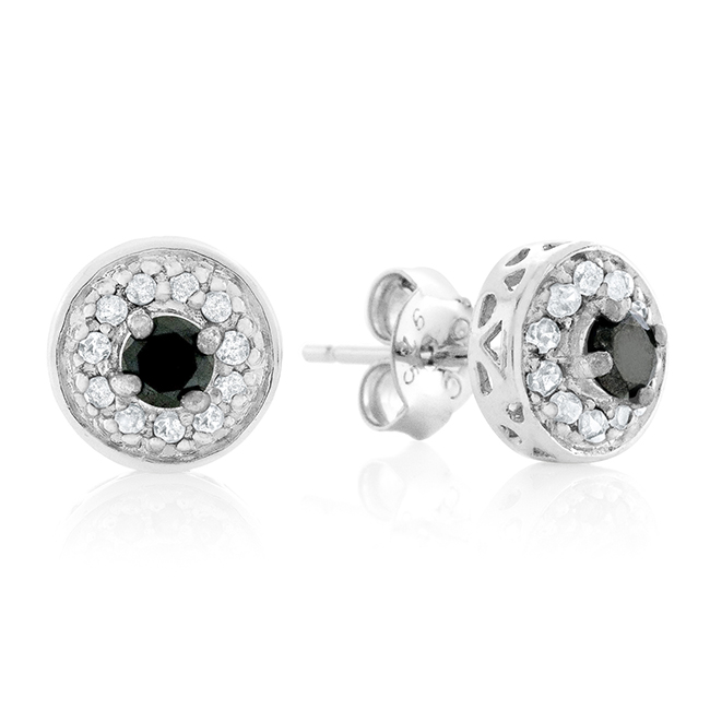 647ed0dca 0.33 Carat Enhanced Black & Natural Diamond Stud Earrings in ...