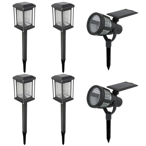 New Malibu 6 Pc Warm White LED Solar Prominence Landscape