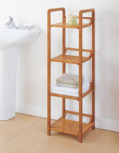 New 4 Tier Bamboo Bathroom Shelf Towel Tower Organizer