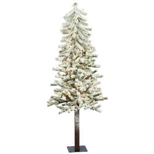 48 prelit flocked alpine christmas tree 100 clear lights