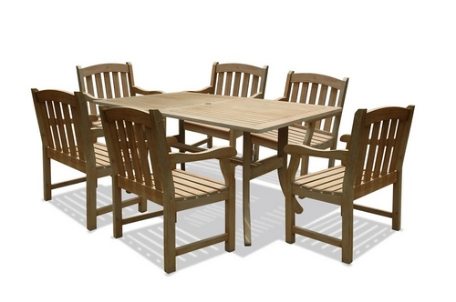 New Renaissance Rectangular Slotted Table & Set Of 6 Slat