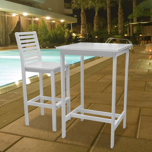 New Bradley Outdoor Patio White Wood Bar Table & Tall