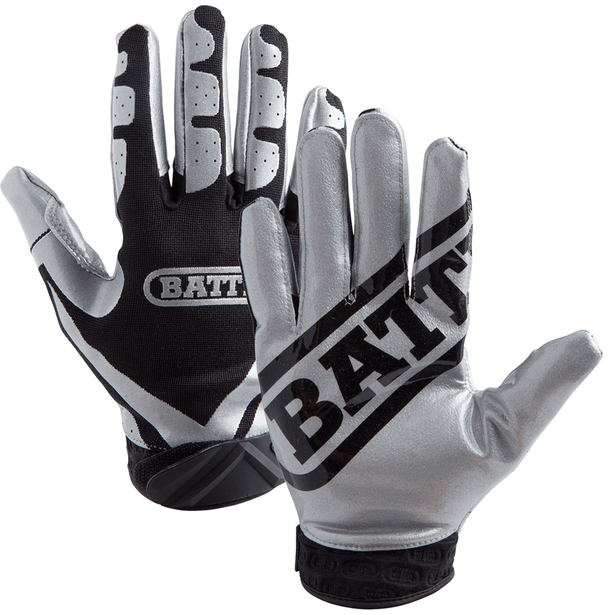 Details about Battle Sports Science Receivers Ultra-Stick Football Gloves -  Silver Black ea2d222a5a52