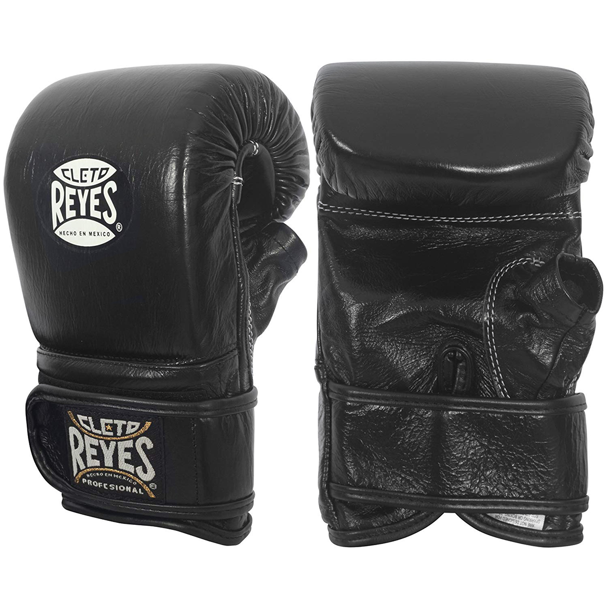 Black Cleto Reyes Hook and Loop Leather Boxing Bag Gloves