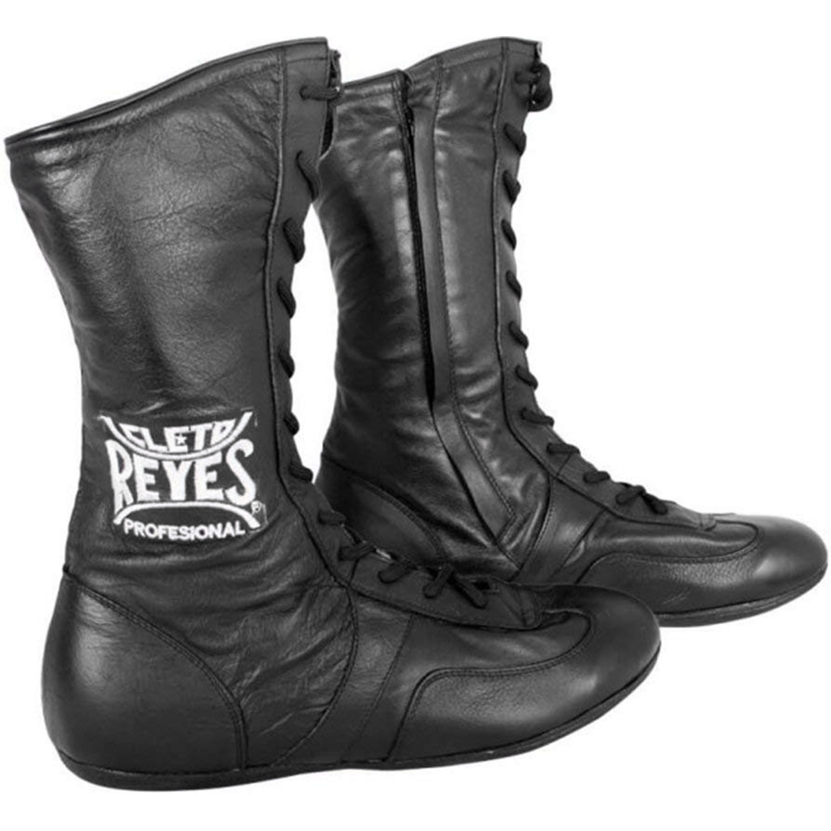 Black Cleto Reyes Leather Lace Up High Top Boxing Shoes