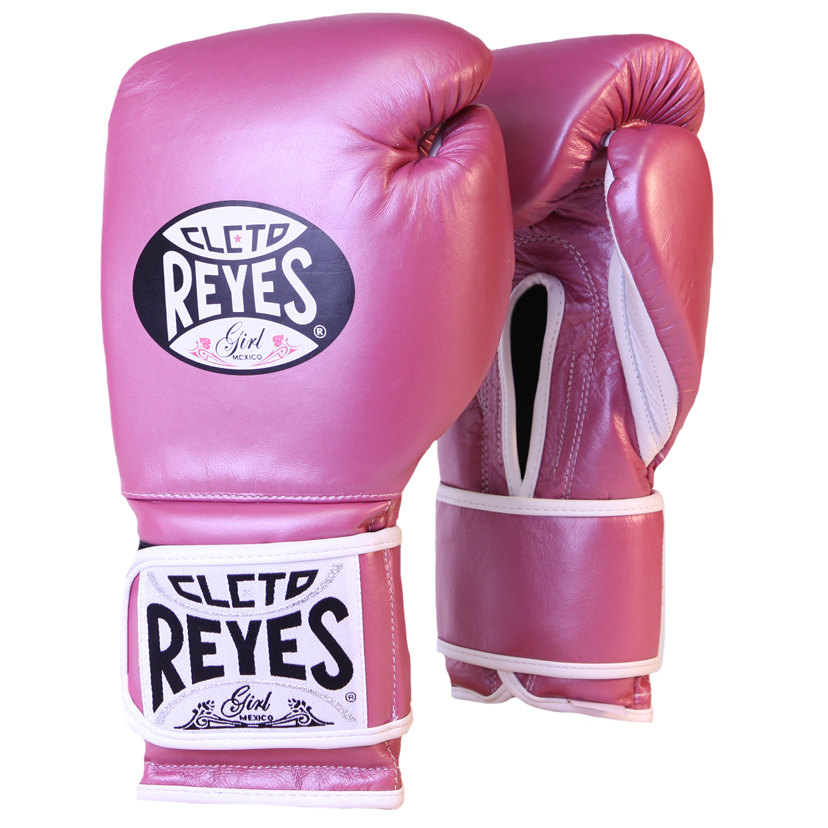 Details about Cleto Reyes Hook and Loop Leather Training Boxing Gloves - 12  oz - Pink Metallic
