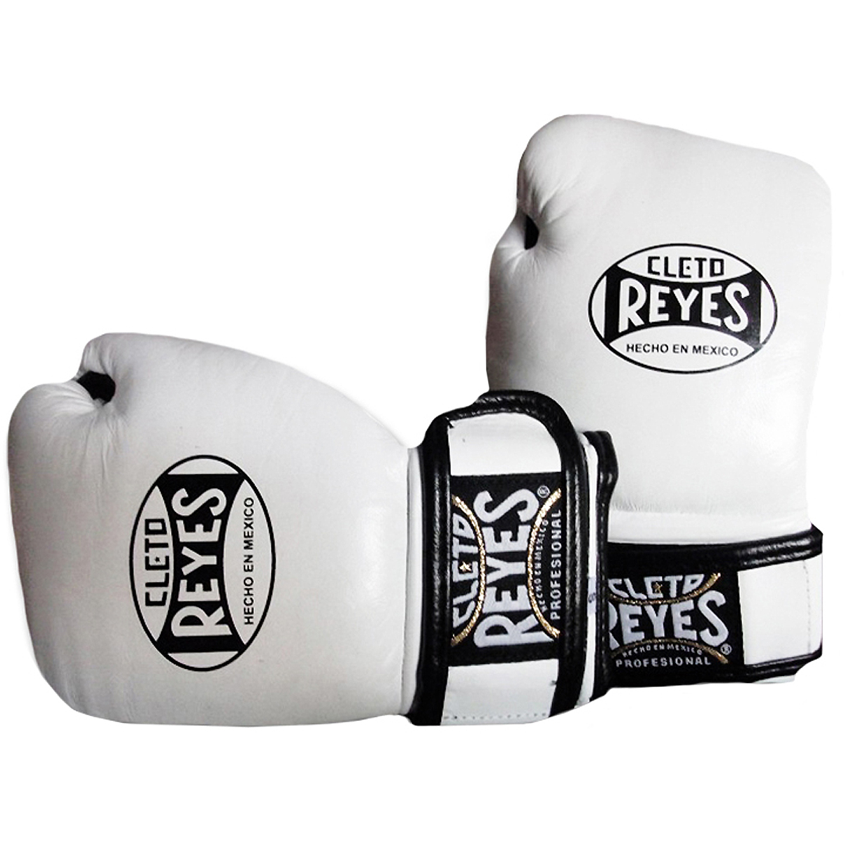 White Cleto Reyes Hook and Loop Leather Training Boxing Gloves