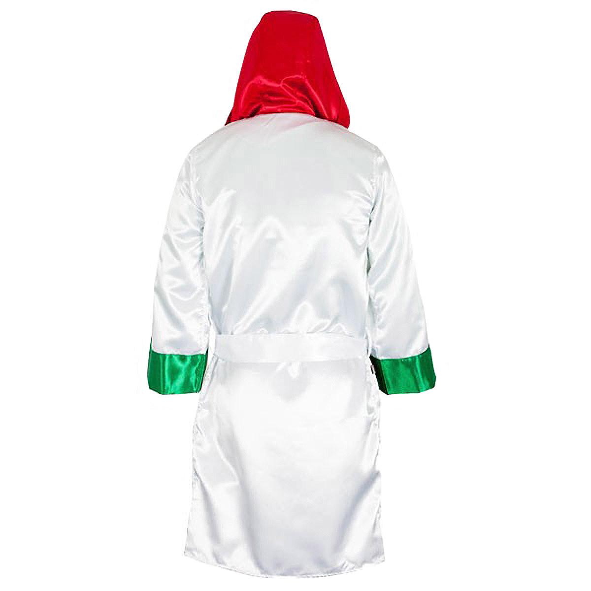 CLETO REYES Satin Boxing Robe with Hood White Medium