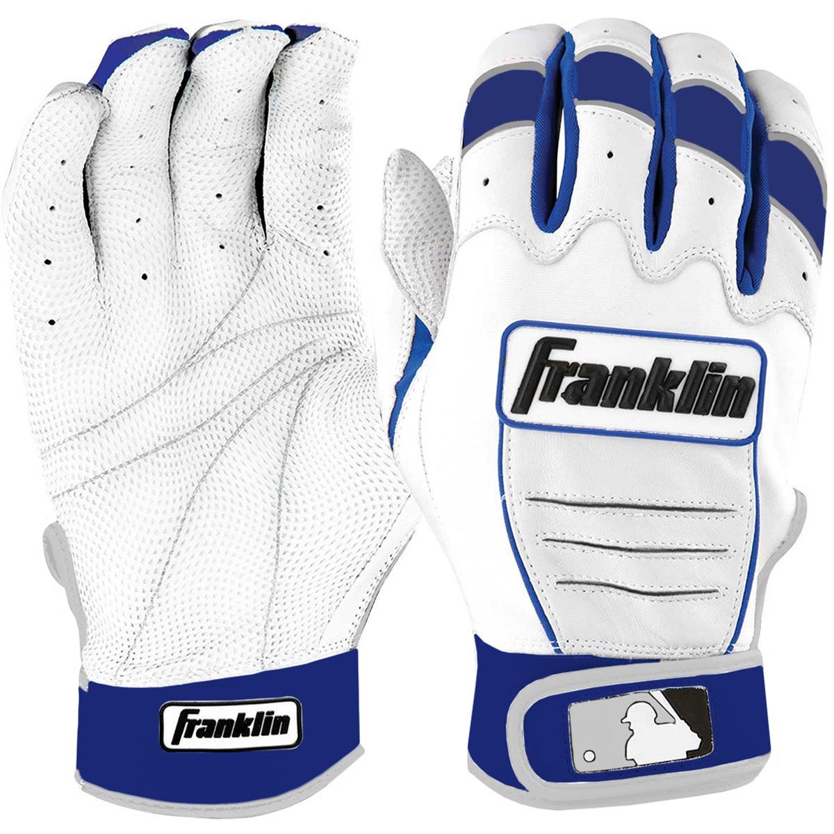 Details about Franklin Adult CFX Pro MLB Batting Gloves - Pearl/Royal Blue