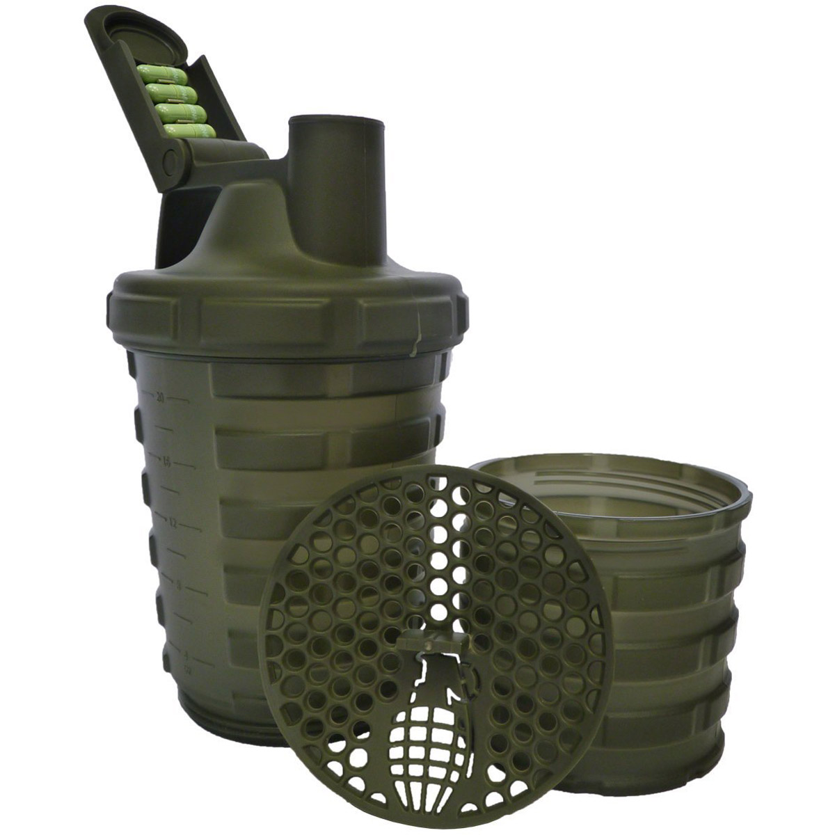 thumbnail 7 - Grenade-20-oz-Shaker-Blender-Mixer-Bottle-with-600ml-Protein-Cup-Compartment