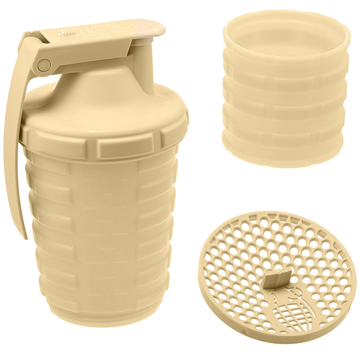 thumbnail 4 - Grenade-20-oz-Shaker-Blender-Mixer-Bottle-with-600ml-Protein-Cup-Compartment