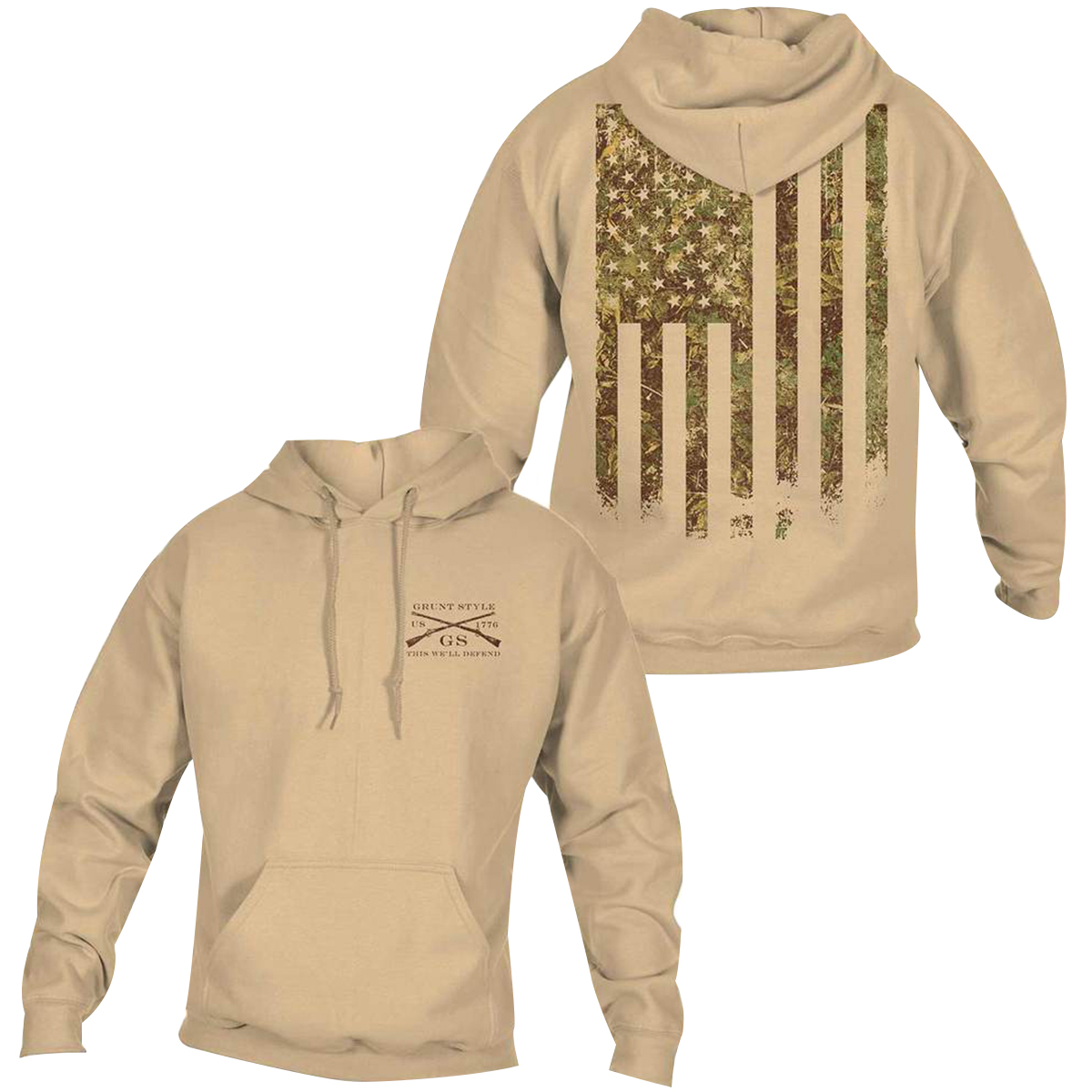 1654c2c1851c Details about Grunt Style Woodland Camo Flag Pullover Hoodie - Sand