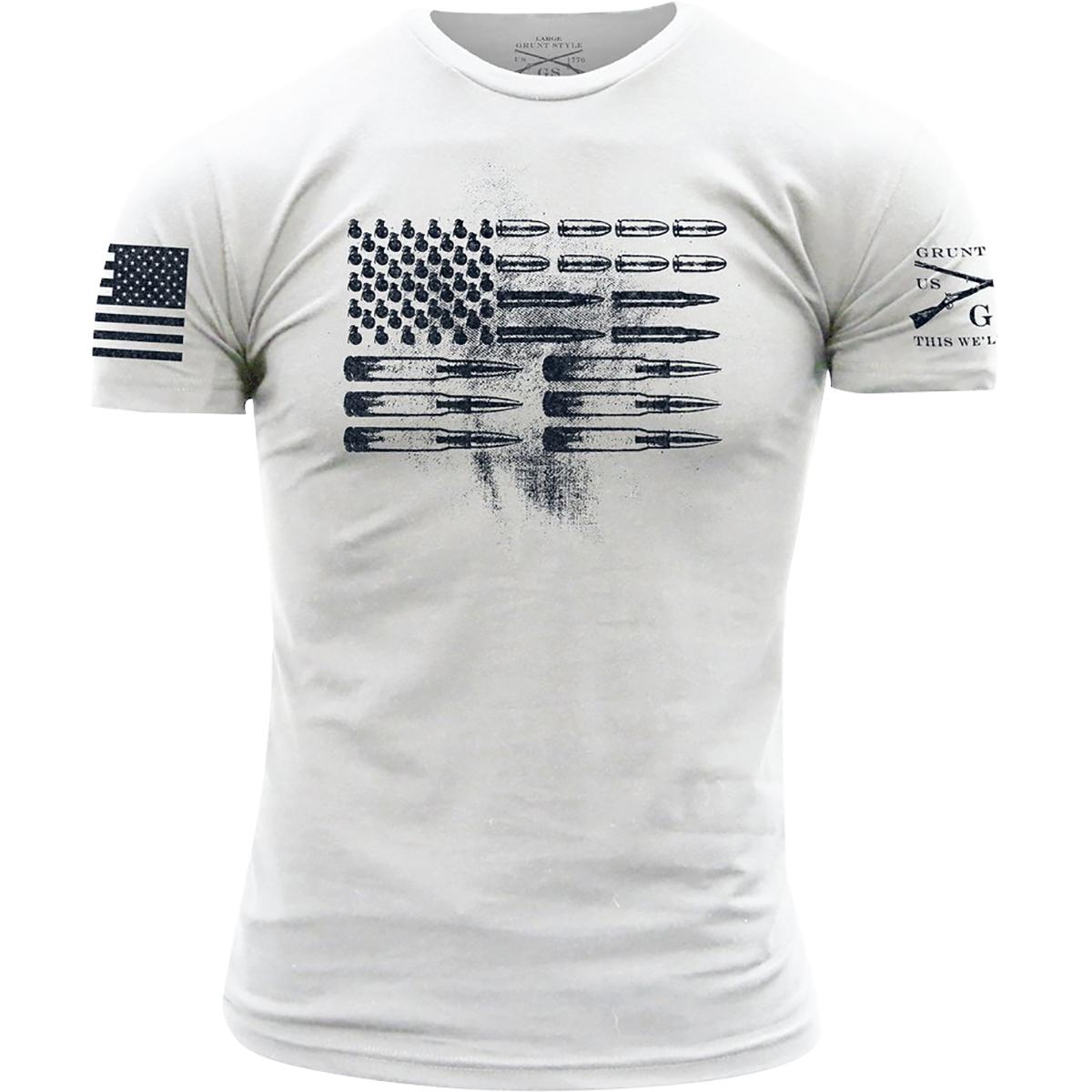 482d61264 Grunt Style Ammo Flag Crewneck T-Shirt - Small - White