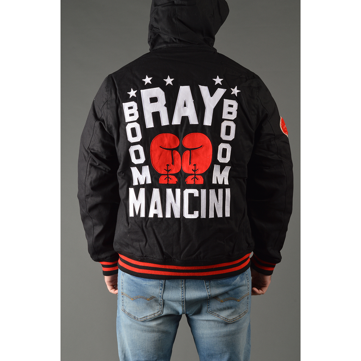 048348a29 Roots of Fight Ray Boom Boom Mancini Canvas Jacket - Large - Black Red