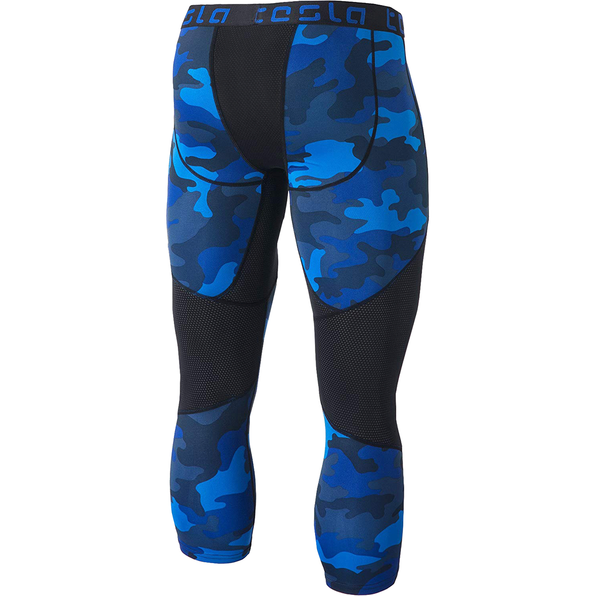 e18a696245d3f Details about TSLA Tesla MUC78 3/4-Length Compression Pants - 2XL - Woodland  Camo/Blue/Black