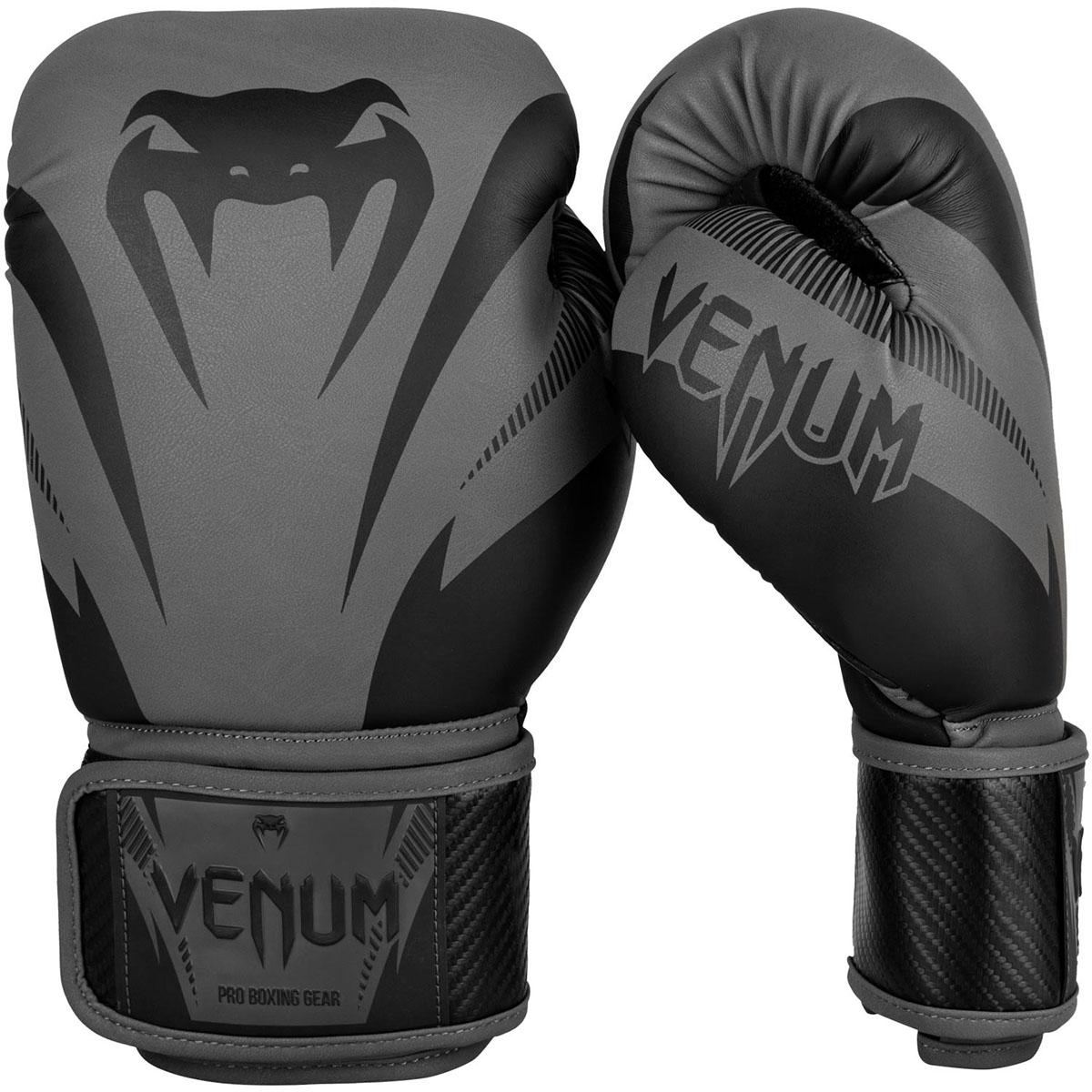 ac0070712f Venum Impact Hook and Loop Training Boxing Gloves - 8 oz. - Gray Black