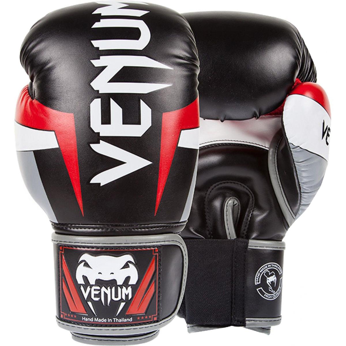 Gray//Black Venum Impact Hook and Loop Training Boxing Gloves