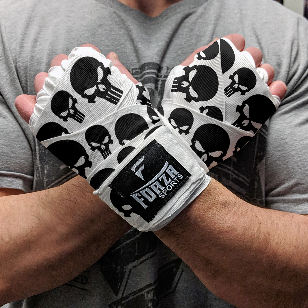 """Forza Sports 180/"""" Mexican Style Boxing and MMA Handwraps Smileys White"""