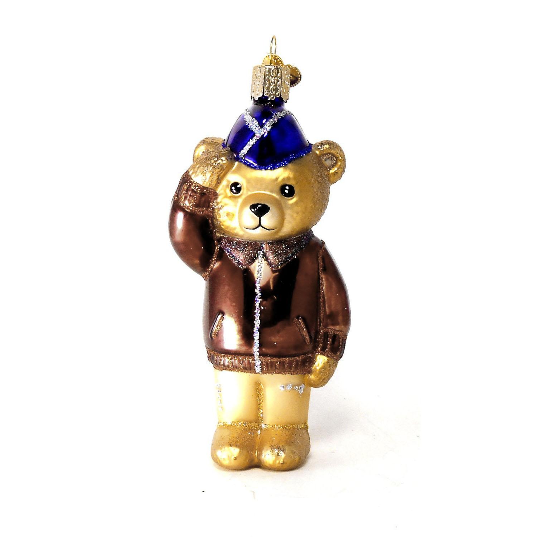 "X Old World Christmas Glass Ornament 12401 /""Air Force Bear/"""