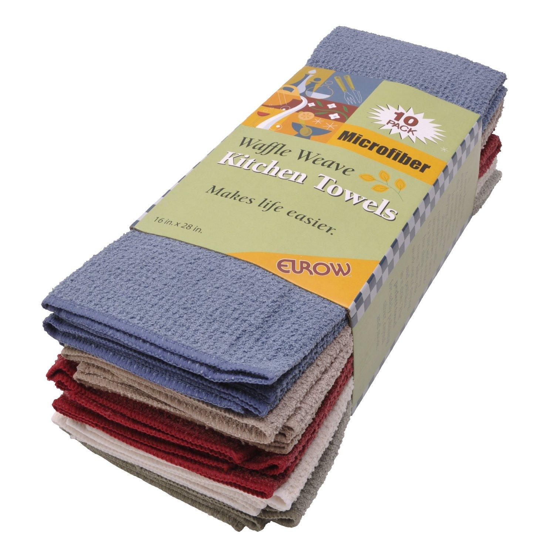 Microfiber Dish Rags: Eurow Microfiber Waffle Weave Kitchen Towels (10-pack