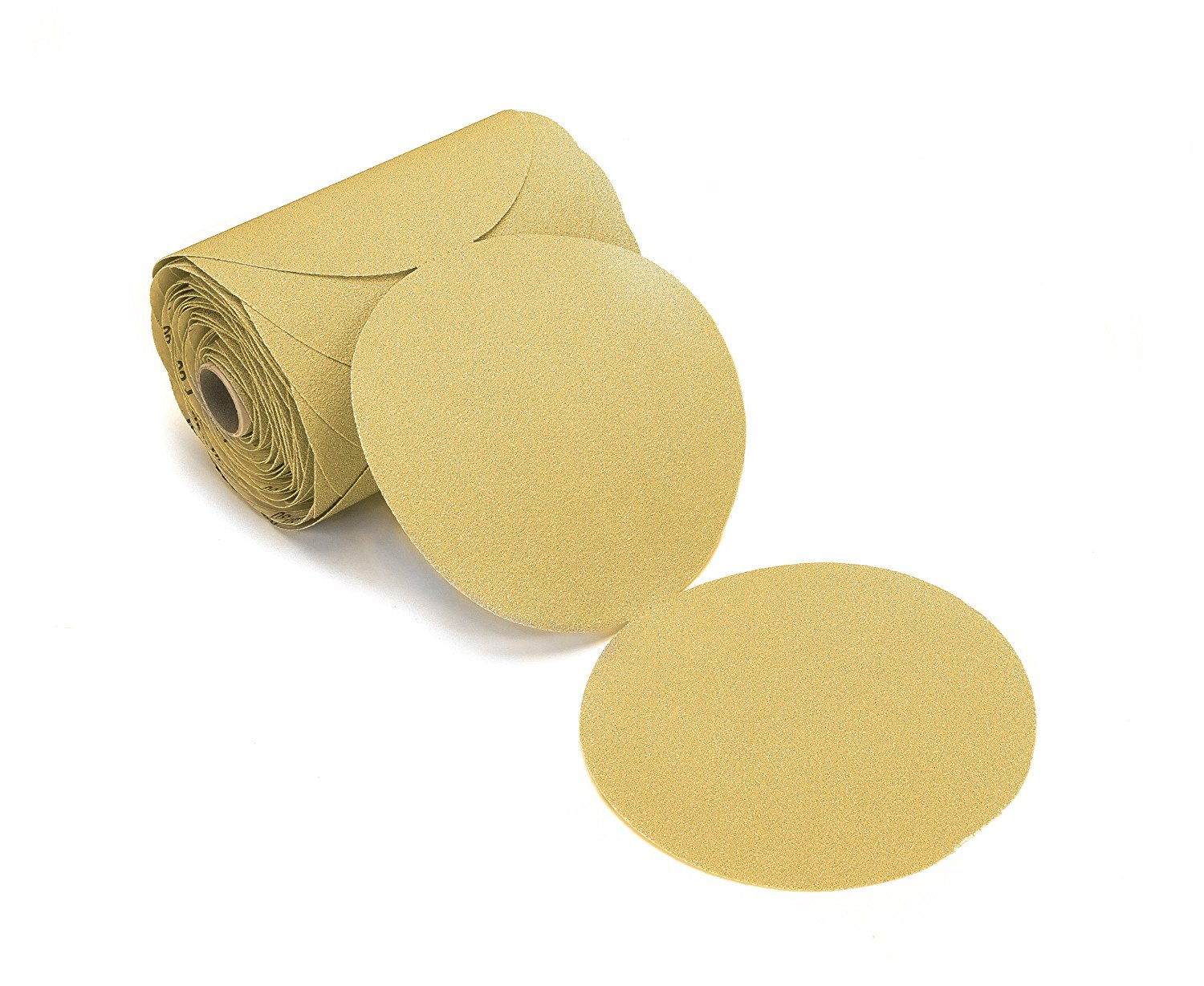 100 Pack 180 Grit 6 Inch Discs On a Roll PSA Gold Sticky Back DA Sanding Paper