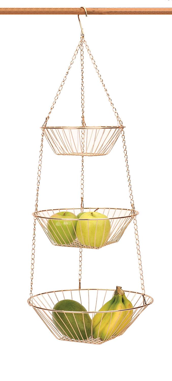 rsvp copper 3 tier hanging wire metal basket fruit