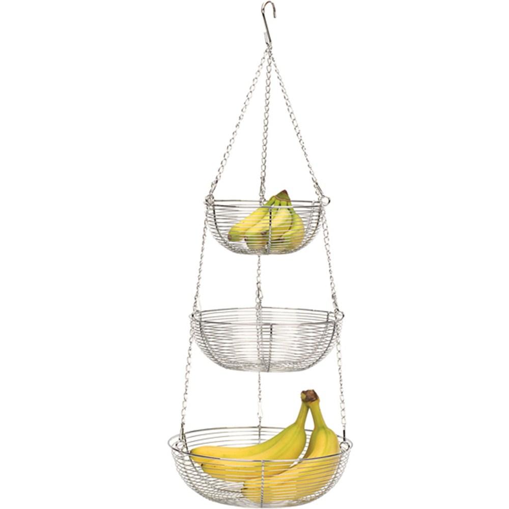 Kitchen Accessories 3 Tier Wire Fruit Basket: RSVP Chrome 3 Tier Hanging Woven Wire Metal Basket Fruit