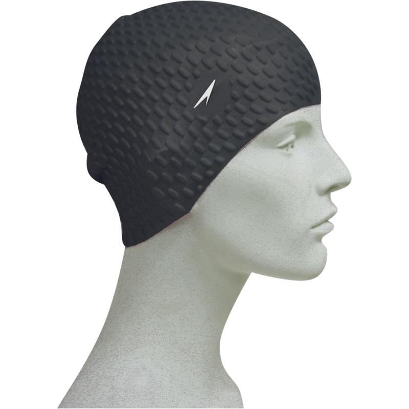 Speedo Silicone Textured Bubble Swimming Swim Cap Black